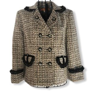 Cynthia Steffe Wool Tweed Blazer with Lace Collar
